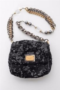 Dolce&Gabbana Sequinleather Trim Beaded Chain Strap Evening Black Clutch