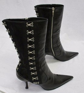 Dolce&Gabbana Leather W Silver Hook Eye Pattern Black Boots