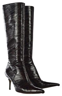 Dolce&Gabbana Womens Brown Knee High Leather Heels Multi-Color Boots