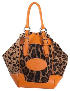 Dolce&Gabbana Leather Canvas Leopard Satchel in ORANGE