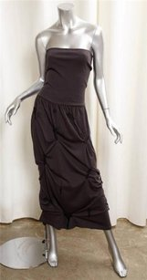 Brown Maxi Dress by Dolce&Gabbana Womens Wool Knit Strapless Gathered Tube Maxi 426