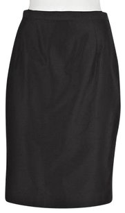 Dolce&Gabbana Womens Pencil Textured Below Knee Silk Skirt Black