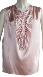 Dolce&Gabbana 100 Silk Ruffle Detail Sleeveless Hs2422 Top Pink