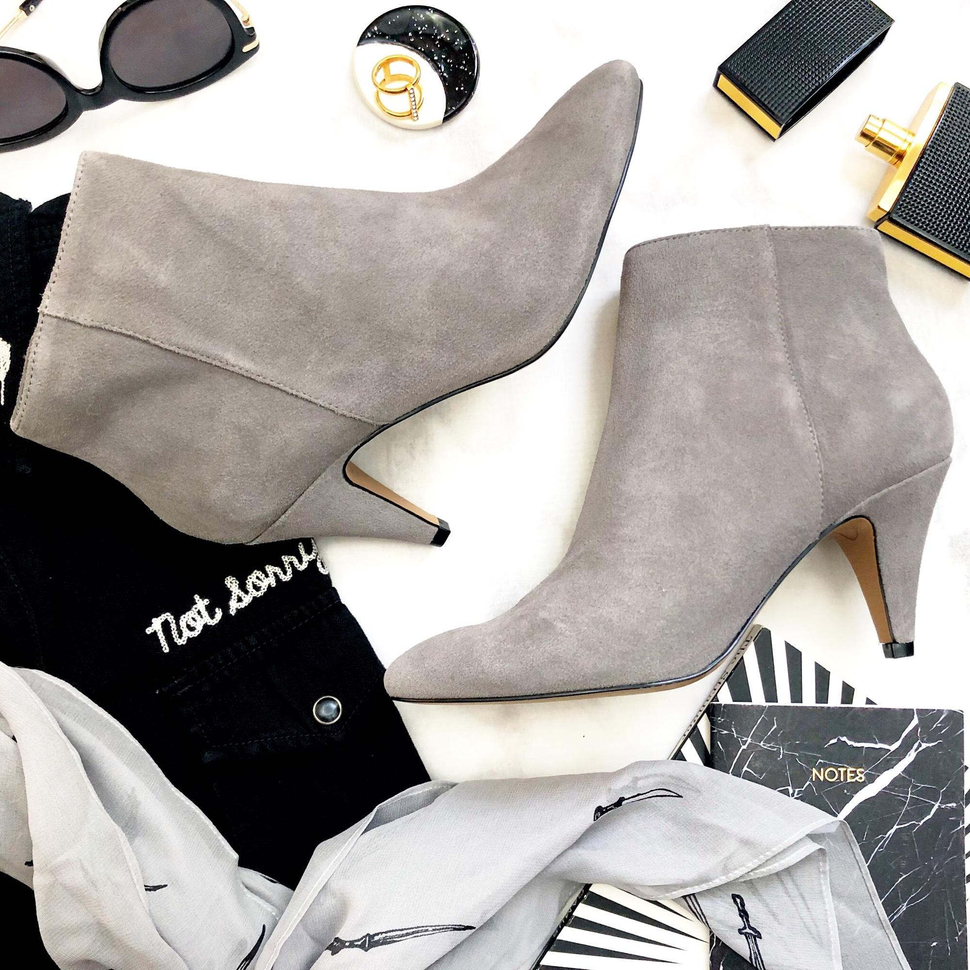 a13a31abb7b99 Dolce Vita Gray Suede Pointed Toe Ankle Boots Booties Size Size Size ...
