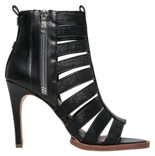 Dolce Vita Strappy Crinkled Zippers Heel Leather Black Sandals