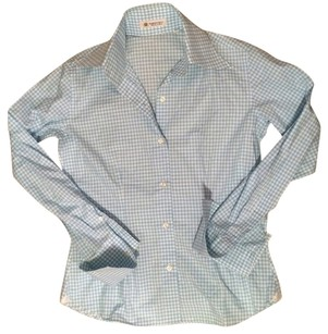 Domenico Vacca Button Up Gingham Light Button Down Shirt Blue