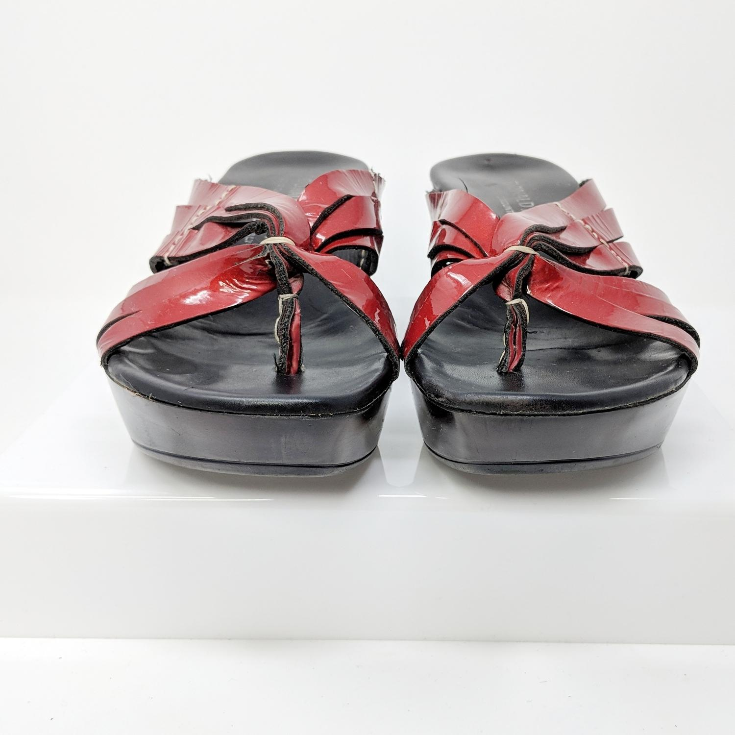 5a1500301b ... Donald J. Pliner Red Cathe Strappy Patent Patent Patent Leather Wedge Sandals  Size US 8 ...