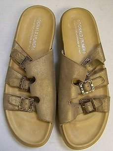 Donald J. Pliner Gold Leather Jeweled Slide Italy Metallics Sandals