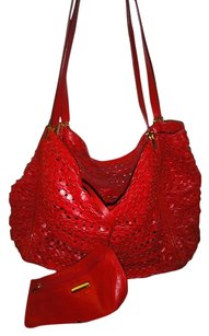 Donna Karan Leather Lambskin Pouch Included Perforated Shoulder Bag