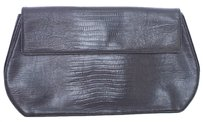 Donna Karan Leather Snakeskin Vintage BLACK Clutch