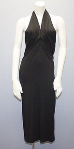 Donna Karan Collection Stretch Knit V Neck Halter Hs1918 Dress
