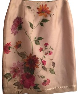 Donna Morgan Skirt Beige with multi color flowers