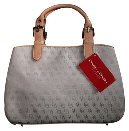 Preload https://item4.tradesy.com/images/dooney-and-bourke-coral-pink-signature-db-sm-buckle-satchel-multi-color-canvas-fabric-leather-tote-398933-0-0.jpg?width=440&height=440