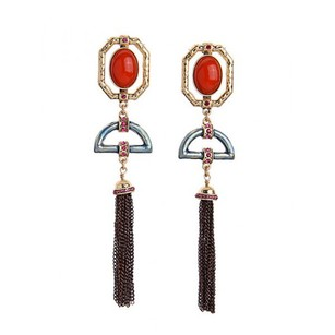 Dot Style Orange Tassel Earrings