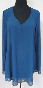 Double Zero Poly Sheer Long Sleeved W Keyhole Accent Sm T173 Top Blue