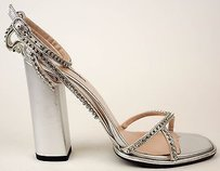 Dries van Noten And Rhinestones Ankle Strap Pumps Silver Sandals