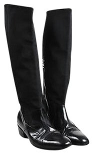 Dries van Noten Leather Grosgrain Riding Black Boots