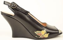 Dries van Noten Hand Painted Leather Wrapped Slingback Wedge Black Pumps