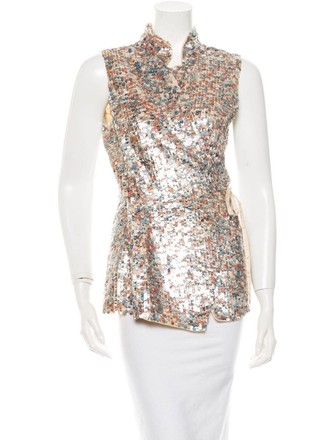 99bda06ad6bb16 well-wreapped Dries van Noten Silver Pink Embellished Sequin Wrap Vest Silk  Blouse 386