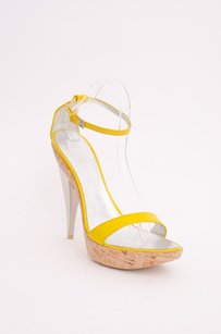 Dsquared2 Silver Cork Patent Leather Sandal Stiletto Strappy Heels 940 Yellow Platforms