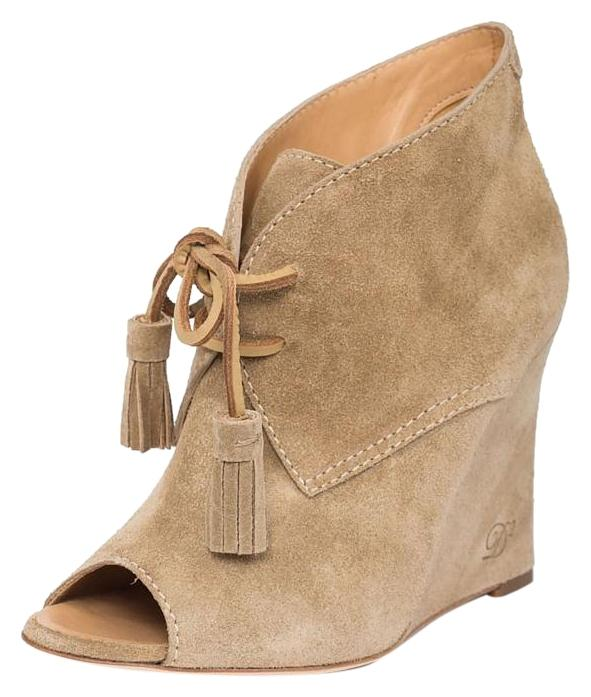Dsquared2 Beige Brown New Women Genuine Wedge Suede Leather Peep Toe Wedge Genuine Eu 37 Boots/Booties Size US 7 Regular (M, B) d880f2