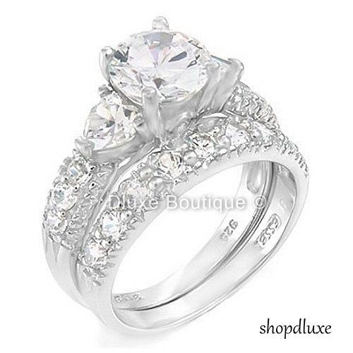 4.05 Ct Three Stone Sterling Silver Wedding Engagement Ring Set