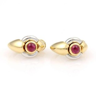 Ebel Ebel 18k Two Tone Gold 1.50ctw Cabochon Red Tourmaline Oval Hoop Earrings Wbox