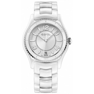 Ebel X-1 Silver Dial White Ceramic and Steel Ladies Watch