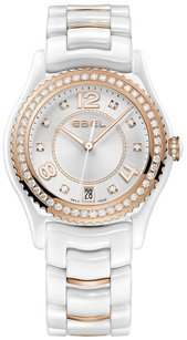 Ebel X-1 Silver Diamond Dial 18Kt Rose Gold and Steel Ladies Watch
