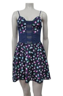 Ecote Navy With Multicolored Polka Dots Urban Outfitters Dress