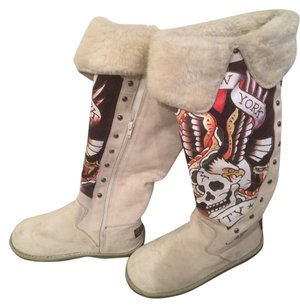 Ed Hardy Multi Color. Light Grey. Boots