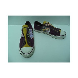 Ed Hardy Womens Sneakers Tennis Slip On No Laces Purples Athletic