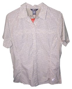 Eddie Bauer Button Down Shirt light brown on cream