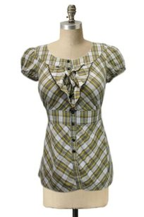 Edme & Esyllte Highlands Button Up By Anthropologie Plaid Tiered Ruffle Top Green