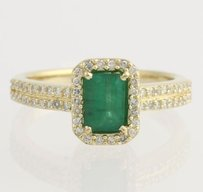 EFFY Effy Emerald Diamond Halo Ring - 14k Yellow Gold Engagement Genuine 1.22ctw