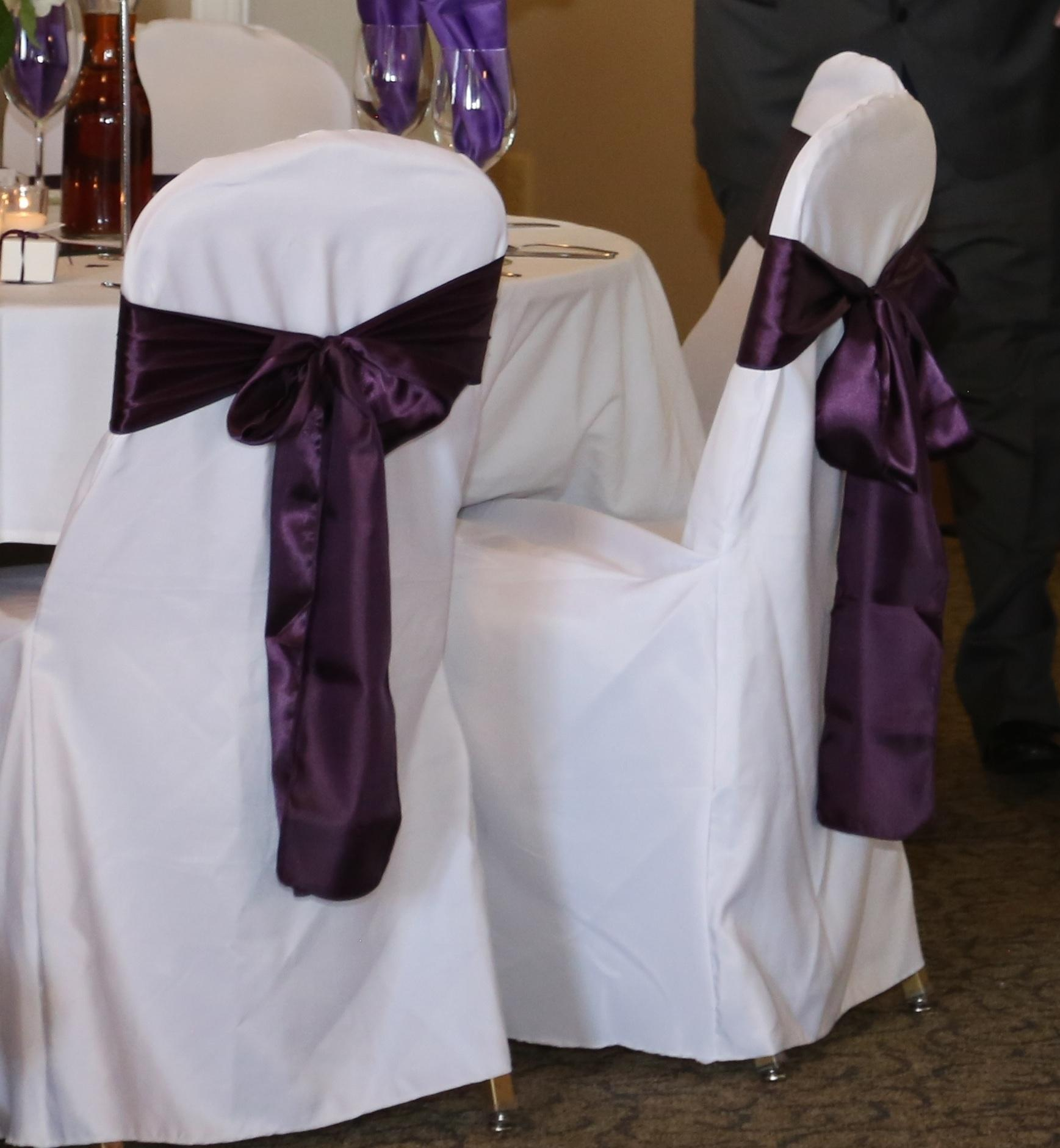Eggplant Chair Covers And Chair Sashes Ceremony Decoration