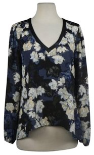Eight Sixty Womens Floral Long Sleeve Casual Shirt Top Blue