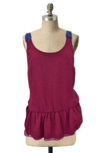 Eight Sixty Beaded Straps Drop Waist Evening Cute Top Burgundy