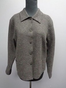 Eileen Fisher Charcoal Wool Casual Knit Button Down Sma7512 Gray Jacket