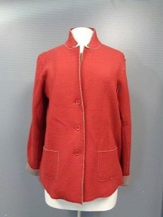 Eileen Fisher Ribbed Long Red Jacket