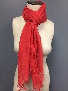 Eileen Fisher Eileen Fisher Coral Geren Fringed Scarf Os Air Washed 100 Linen B2677