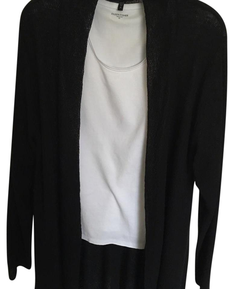 Eileen fisher shaped long cardigan, black