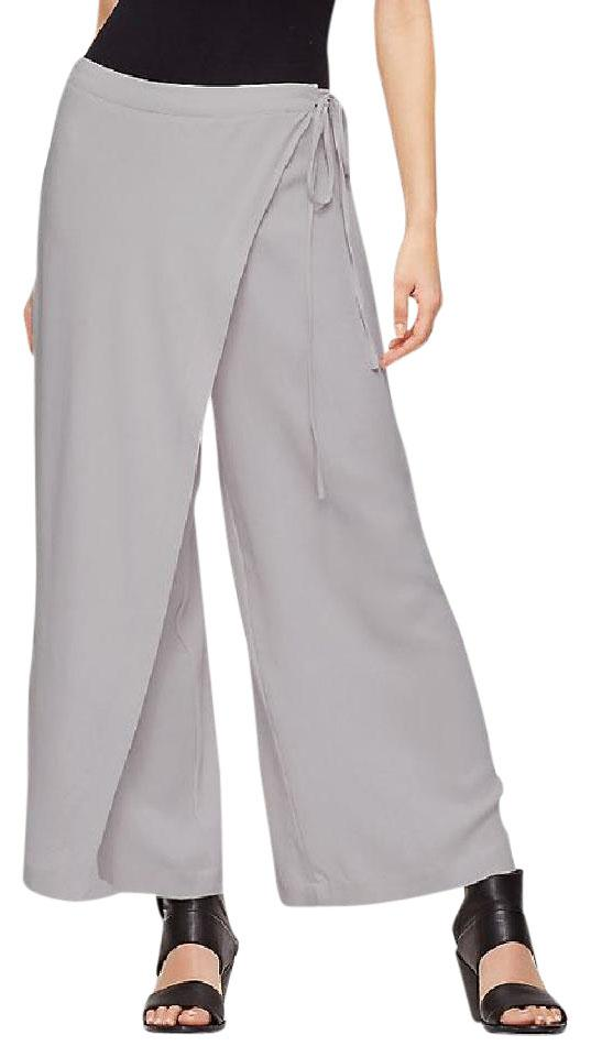 Eileen Fisher Wrap Sarong Silk Georgette Crepe Relaxed Pants SILVER ...