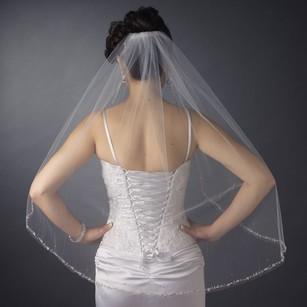 Elegance By Carbonneau Ivory Fingertip Length Wedding Veil With Beaded Edge