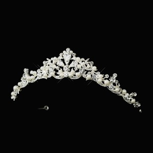 Elegance By Carbonneau White Pearl And Rhinestone Wedding Tiara