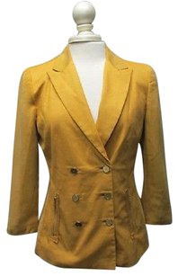 Elie Tahari Elie Tahari Gold Sleeves Solid Double Breasted Lined Blazer 5786 A