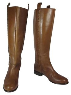 Elie Tahari Leather Tall Designer Caramel Brown Boots