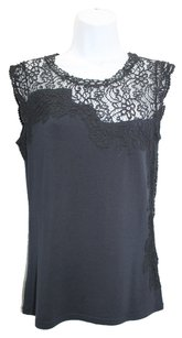 Elie Tahari Lace Stretch Navy Top