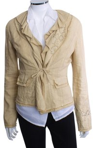 Elie Tahari Linen Embroidered TAN Jacket