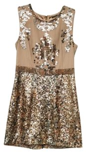 Elie Tahari Womens Beigegold Sequin Sleeveless Cocktail 6us Dress